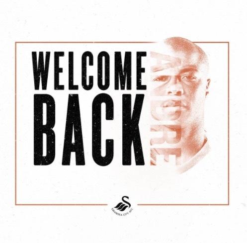 官方:西汉姆联前锋安德烈-阿尤回归斯旺西城