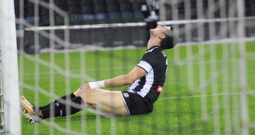 乌迪内斯前锋拉萨尼亚大腿受伤,将缺席数轮联赛