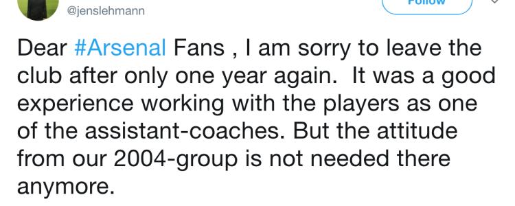 莱曼离开阿森纳:2004年班底的态度不再被需要了