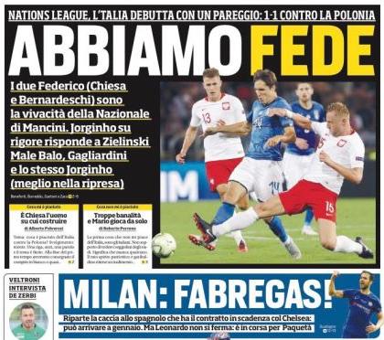 罗马体育报:AC米兰已经接触法布雷加斯