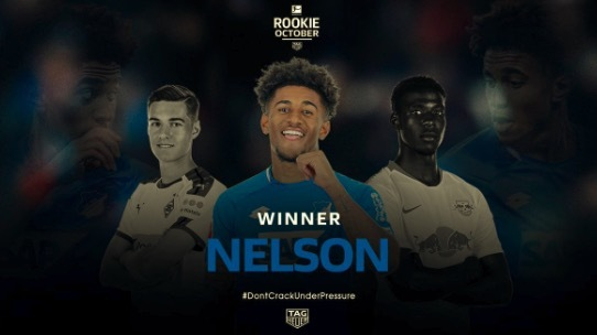 官方:阿森纳外租前锋纳尔逊当选德甲10月最佳新人