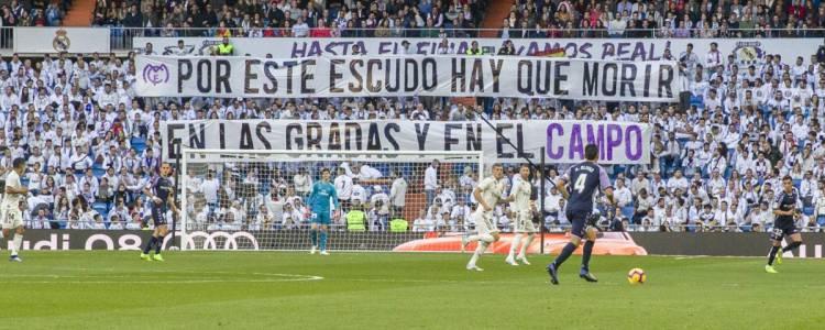 皇马死忠球迷组织赛中横幅抗议:为了队徽必须战斗至死