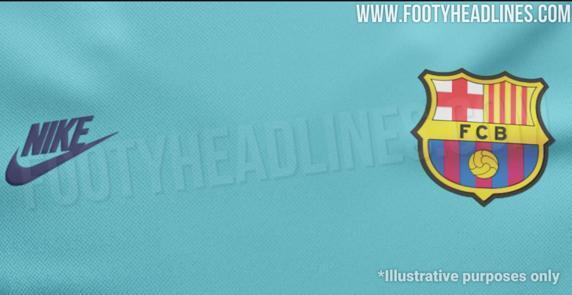 巴萨新球衣泄露:湖蓝主色,基于96/97赛季球衣设计