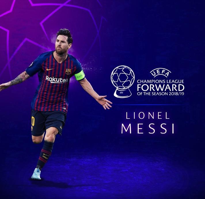 官方:梅西当选上赛季欧冠最佳前锋