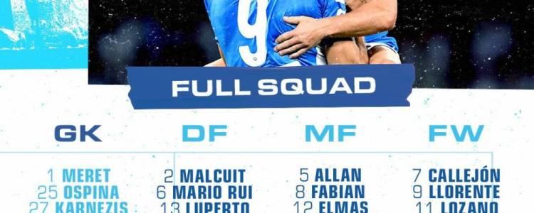 那不勒斯战利物浦大名单:米利克复出,希萨伊伤缺