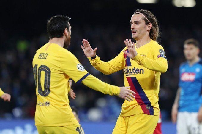 格列兹曼成为巴萨除梅西外欧冠淘汰赛客场进球近五年第一人
