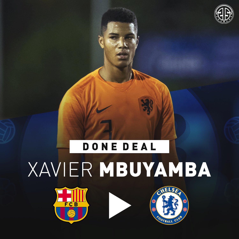切尔西正式签下巴萨19岁荷兰中卫Xavier Mbuyamba