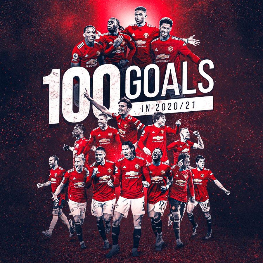 曼联本赛季进球数已达到100粒,官推庆祝:我们还能进更多!