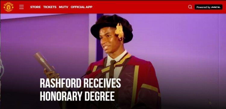 曼联官方:拉什福德获得曼彻斯特大学荣誉博士学位