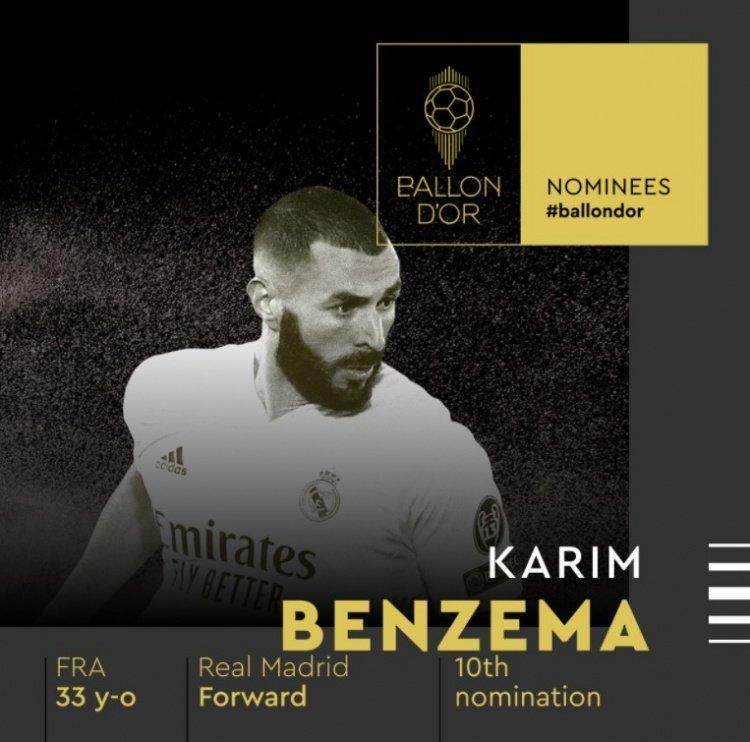 本泽马10次入围金球奖候选,创法国球员之最
