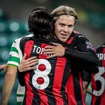 A night of first times 1️⃣ Rossonero @europaleague debut and first goal 🇳🇴🔴⚫️ #CelticMilan #UEL #SempreMilan