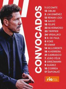 📋 ¡𝗟𝗮 𝗹𝗶𝘀𝘁𝗮 de convocados para el Atleti-Barça!