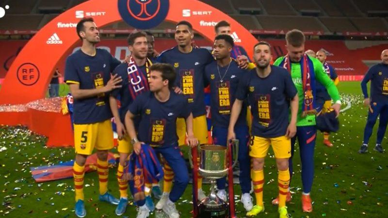 巴萨球员国王杯夺冠赛后T恤:新时代的第一座冠军